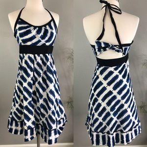 Maeve Anthropologie 2 Halter Dress Blue Black